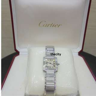 Authentic Cartier Tank Francaise Ladies Quartz Silver Roman Letter Dial S/S 21x24 mm (With Box)