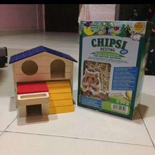 HAMSTER WOODEN HOUSE AND NESTING