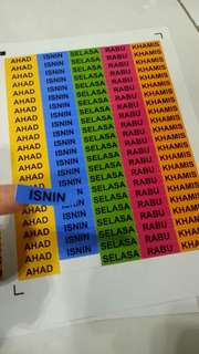 Sticker lable buku harian