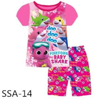 Baby shark pink tee set