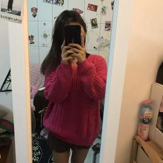 🚚 韓版桃紅針織毛衣