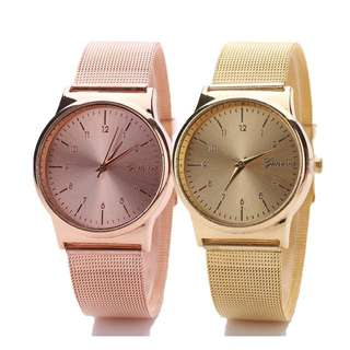 Jam Tangan Geneva Rose Gold With Simple Bracelet