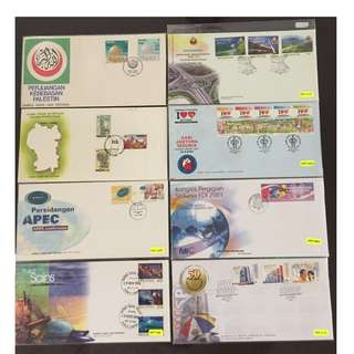 Malaysia 8 first day covers Commemorative Issues on Local and International Events
