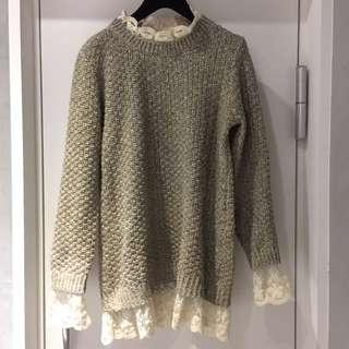 韓 蕾絲長版毛衣