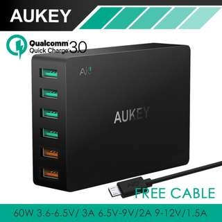 AUKEY PA-T11 6-Port 60W Quick USB Charger FREE DELIVERY NEW