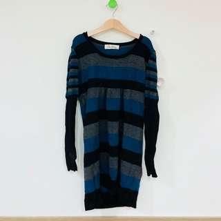 🚚 二手 黑藍條紋 長袖洋裝
