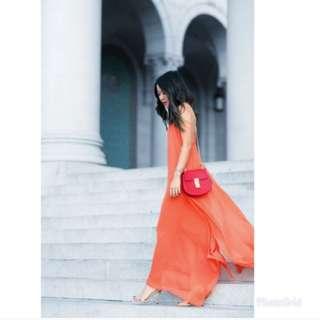Reddish Orange Maxi Dress