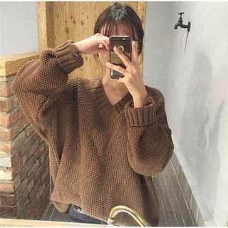 長袖針織咖啡色毛衣#舊愛換新歡