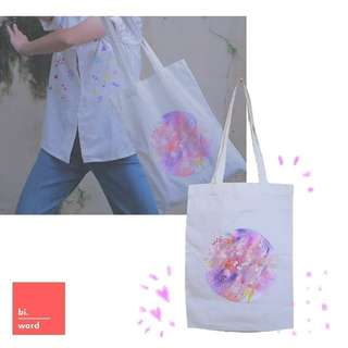 Hand painted and Embroidery Totebag