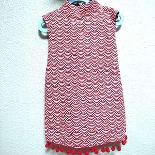 Maison Q reversible cheongsam dress with pom poms