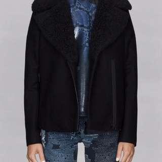🚚 ❝二手英國帶回❞ H & M 副牌& Other Stories 羊毛男士風騎士拉鍊設計大衣 ZARA COS 毛呢大衣