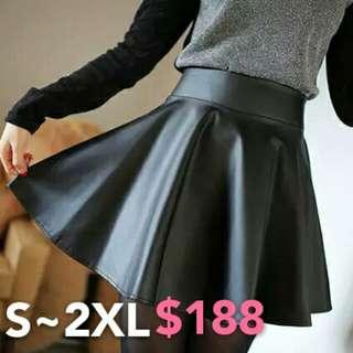 💋傘狀皮裙💋皮短裙 黑裙子 高腰裙 傘裙 皮裙 褲裙