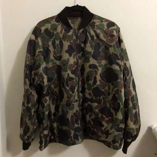 Army green reversible bomber jacket