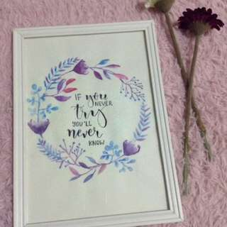 Handpainted wreath with frame