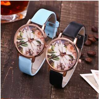 Jam Tangan Vansvar Flower Casual PU Leather