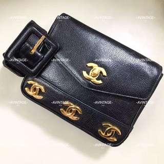 (SOLD)Chanel Vintage 黑色荔枝皮腰包