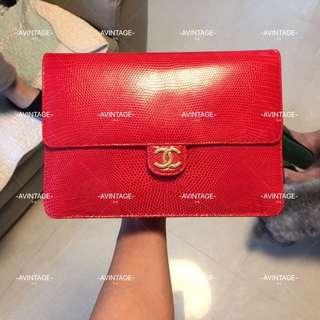 (SOLD)Chanel Vintage 紅色蜥蜴皮 Flap Bag