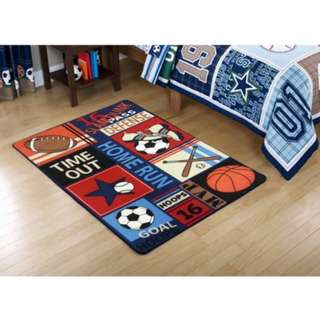 "Mainstays Kids All Star Rectangular Royal Plush Rug ( 52.4"" x 94.5"")"