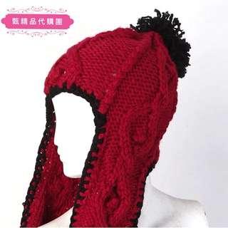 (現貨)冬季新款百搭時尚保暖護耳針織一體圍脖毛線帽
