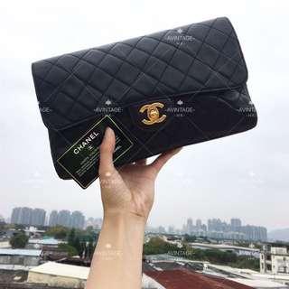 (SOLD)Chanel Vintage 黑色羊皮 Clutch Bag
