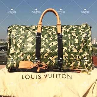 (SOLD)LOUIS VUITTON x 村上隆迷彩KEEPALL55旅行袋