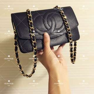 (SOLD)Chanel Vintage 黑色魚子醬長銀包