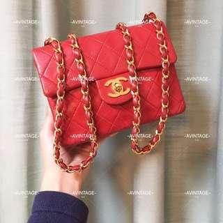 (SOLD)Chanel Vintage 紅色 Mini Flap 18cm