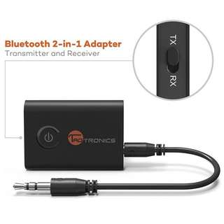 TaoTronics Bluetooth 4.1 Transmitter / Receiver, 2-in-1 Wireless 3.5mm Adapter (aptX Low Latency, 2 Devices Simultaneously, For TV / Home Sound System)