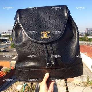 (SOLD)Chanel Vintage 黑色荔枝皮Backpack