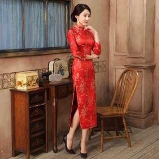 Cheongsam red long sleeve