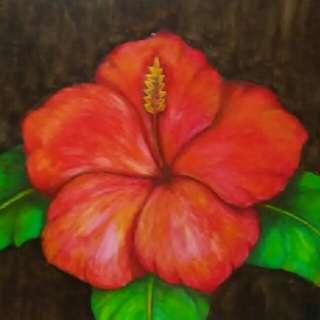 Lukisan Bunga kembang sepatu