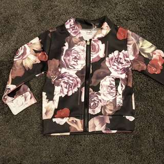 Floral black 2-3 yo kid's jacket/outerwear