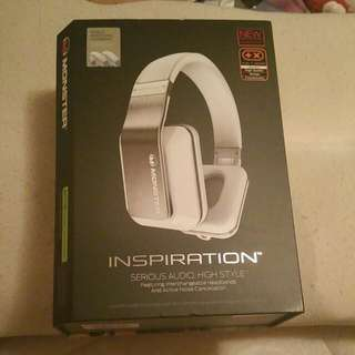 Rare White Monster Inspiration headphones Sound Cancellation