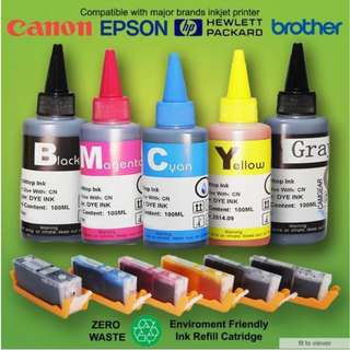 Refillable Universal Ink for Inkjet printers.