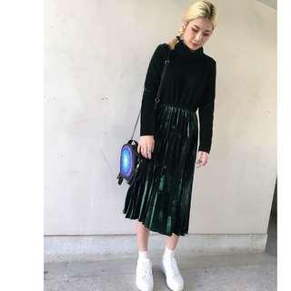 【鳳眼夫人】秋冬新款 復古時尚 金絲絨高領厚款 經典純色合身百褶連身裙 *3色 韓系 韓版 百褶裙 a字裙
