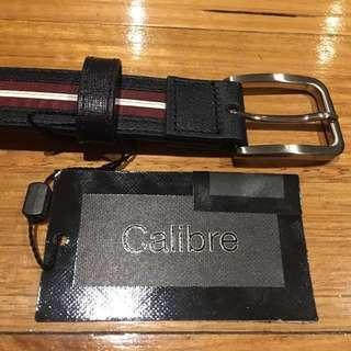 Brand New - Men's Calibre Genuine Leather Crosshatch Stripe Belt (Size 30)