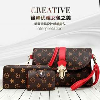 LV alike 3 in 1 fashion bag Ready stock
