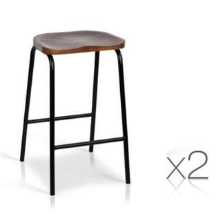 Set of 2 Industrial Bar Stools with Wooden Seat SKU: BA-TW-9091-BKX2