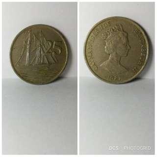 1987 Cayman Islands 25 cents