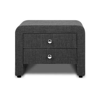 Fabric Bedside Table with Drawers SKU: BFRAME-F-JERI-CHA