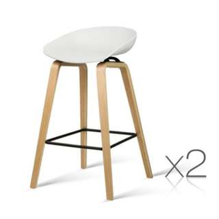 Set of 2 Wooden Barstools with Metal Footrest White SKU: BA-TW-8801-WHX2