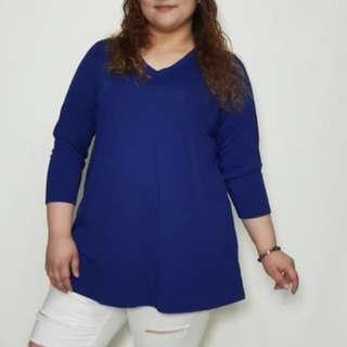 Plus size long blouse Vneck