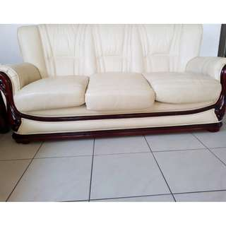 2 x 3 seater leather lounges