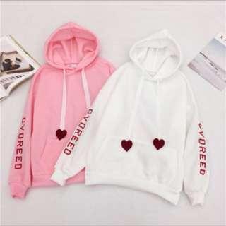 韩版刺繡字母寬鬆加绒外套頭爱心字母刷毛連帽T❤️預購款❤️