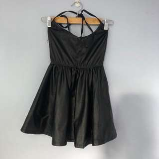 American apparel leather halter dress