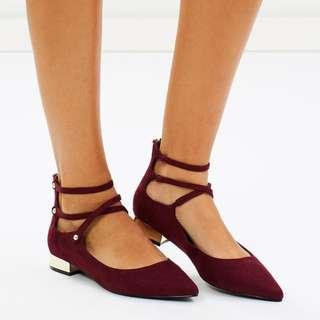 Aldo / Size 7 Marieta Block Heel Flats (Bordeaux)