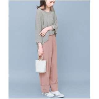 (🇯🇵私物出清)日系日牌KBF夏季捲邊氣質高腰粉色寬版褲 全新 三件含運