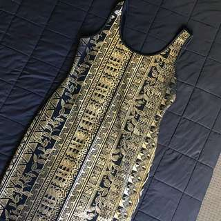Gold print dress