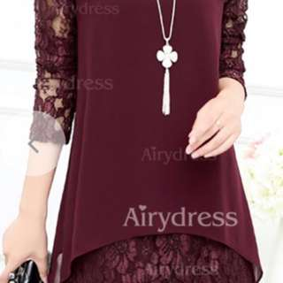 Solid Lace Long Sleeve Shift Dress
