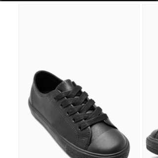 boys shoes Black Lace-Up Leather Sneakers